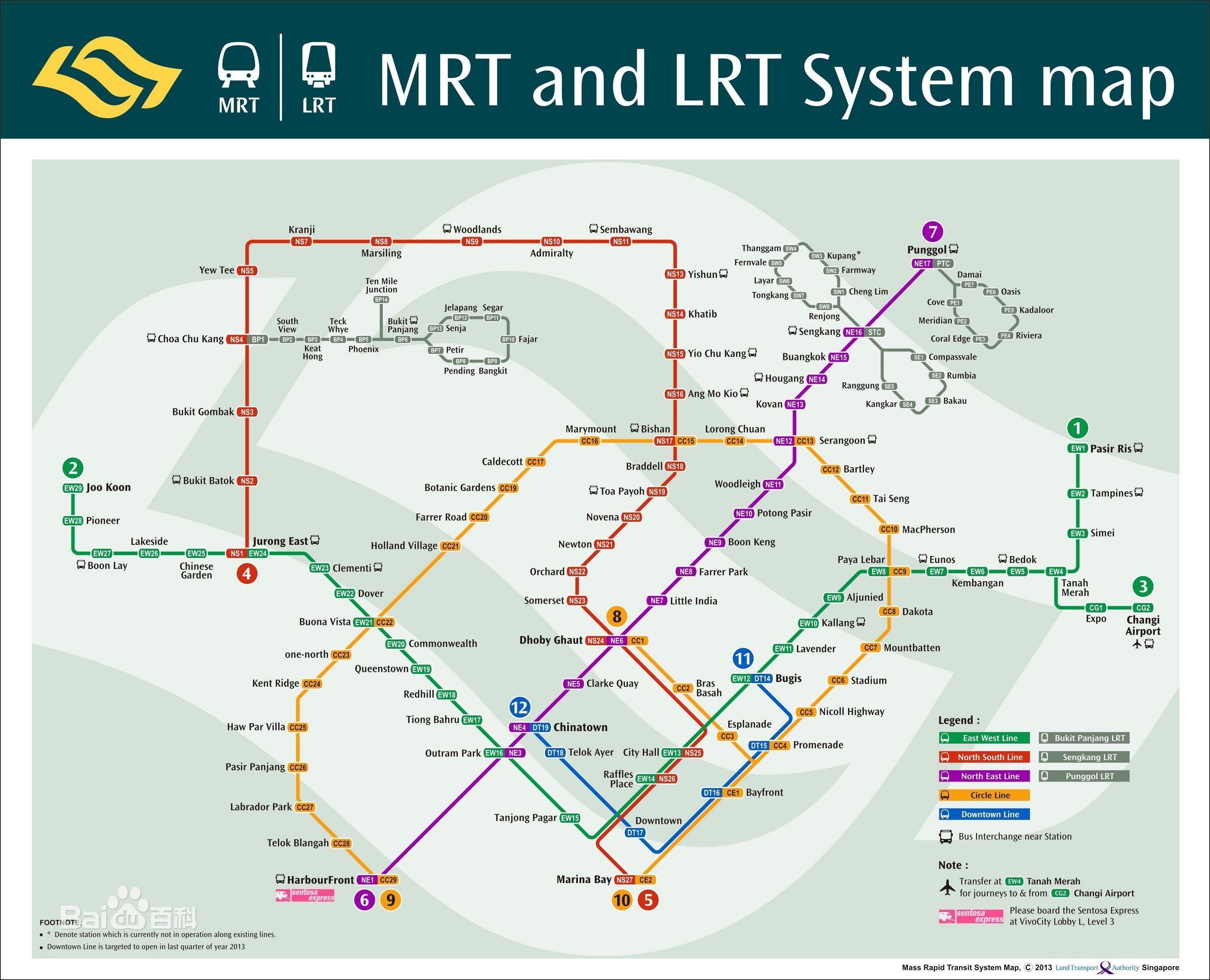 地铁:地铁系统自1987年开通,当前设有104个地铁车站,10个转车站,153.2公里的标准轨距线路。服务从早上5点30起到凌晨1点结束,班次约90秒到7分钟一次。新加坡地铁系统分5条路线,东西线(绿线)、南北线(红线)、东北线(紫线)、环线(橘黄)、滨海市区线(蓝线)互相联系各个角落,并且通往数个观光胜地,公众只有要查看站名记住其颜色及号码即可使用。